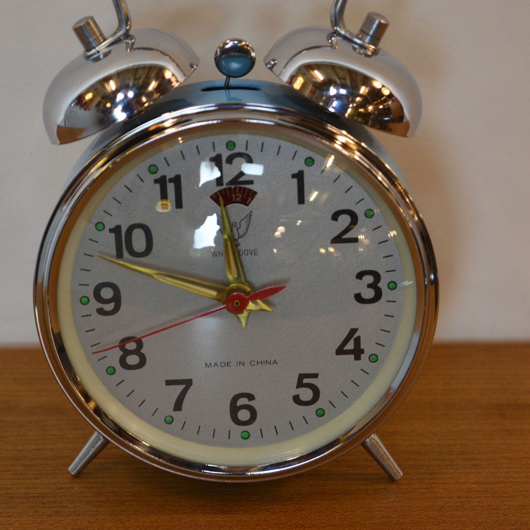 Double Bell Wind Up Alarm Clock, WHITE DOVE, 1960's ...