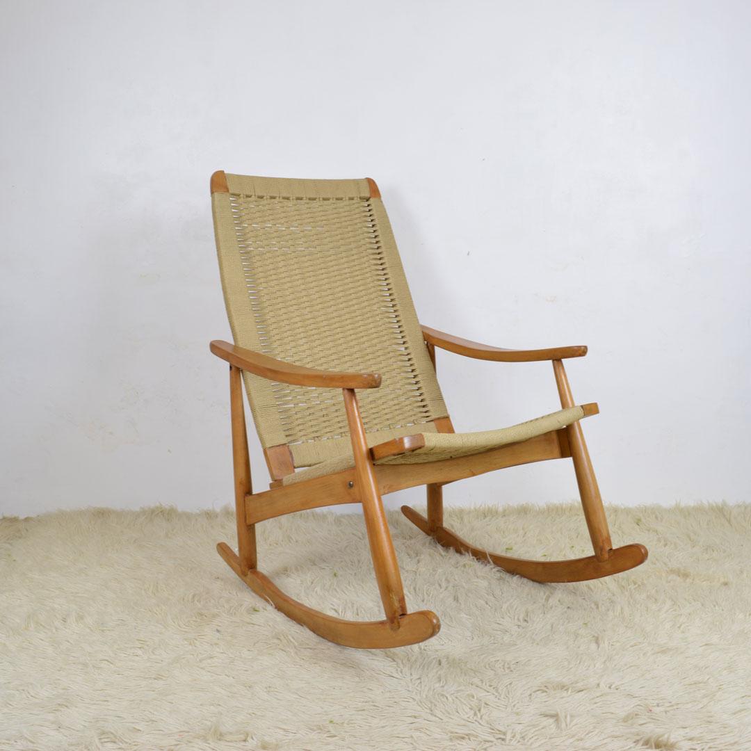 Image of: Danish Modern Hans Wegner Style Of Rope Cord Rocking Chair Retrosexual Vintage Shop